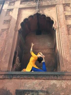 Yoga at temple