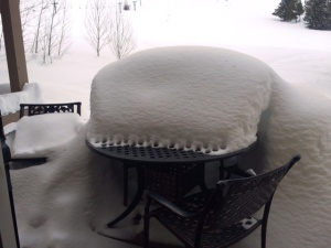 Table with snow
